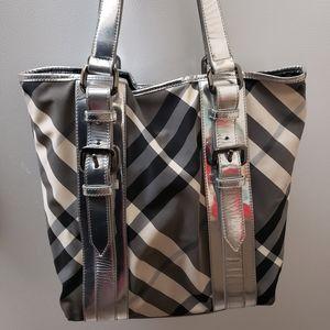 BURBERRY Metallic Silver Plaid Patent Leather Bag